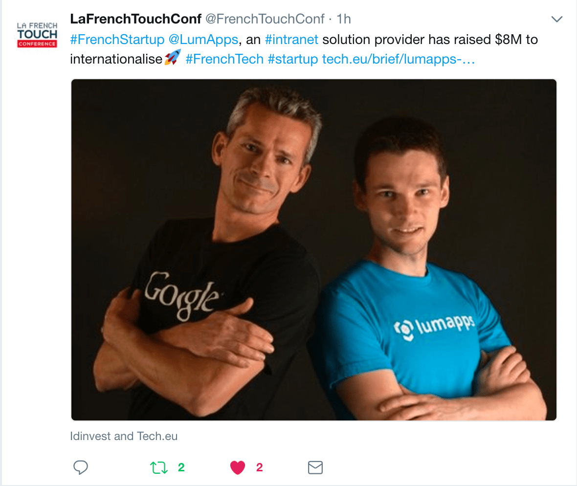 Twitter French Tech - LumApps Series A Fundraising