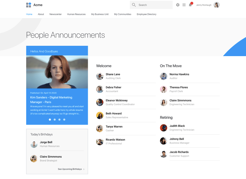 People Announcements - LumApps Intranet
